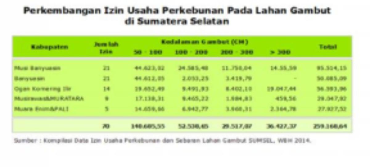 Perkembangan Izin Pemanfaatan Ruang Pada Lahan Gambut Provinsi SumSel
